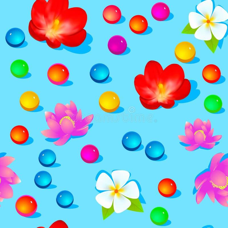 heller nahtloser Hintergrund mit Blumen und Co lizenzfreie abbildung