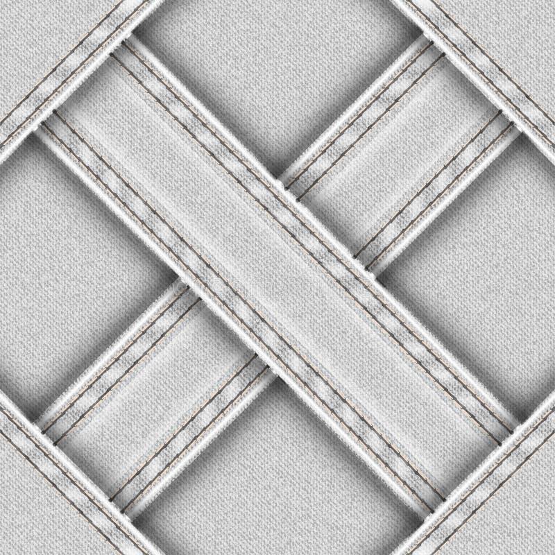 Heller nahtloser Hintergrund mit Denim genähten Querbändern lizenzfreie abbildung