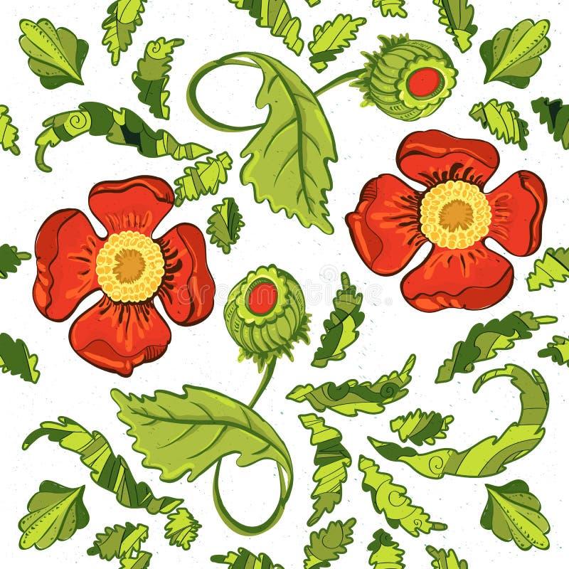 Heller nahtloser Hintergrund mit Mohnblumen und Blättern vektor abbildung