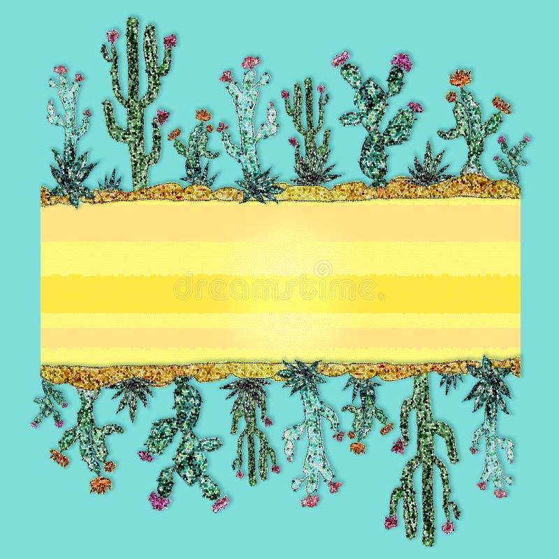 Heller Rahmen von Kakteen Mosaikart Exotische Auslegung stock abbildung