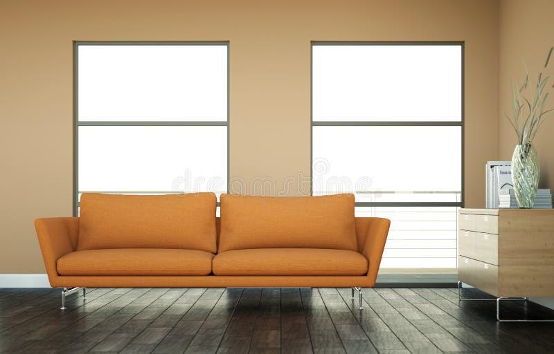 Heller Raum mit orange Sofa vor einer braunen Wand lizenzfreie abbildung