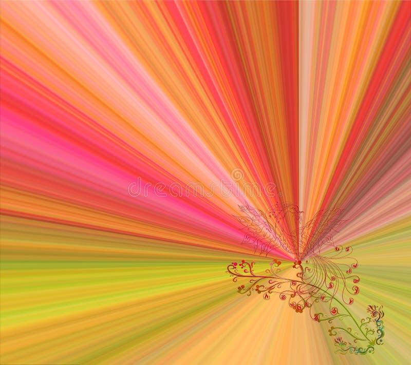 Heller Regenbogenhintergrund mit Phoenix, mit einer Blume in seinem bea stock abbildung