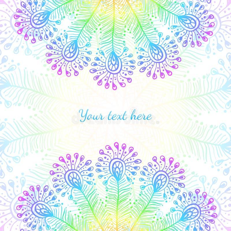 Heller Regenbogenvektorpfau versieht Hintergrund mit Federn lizenzfreie abbildung