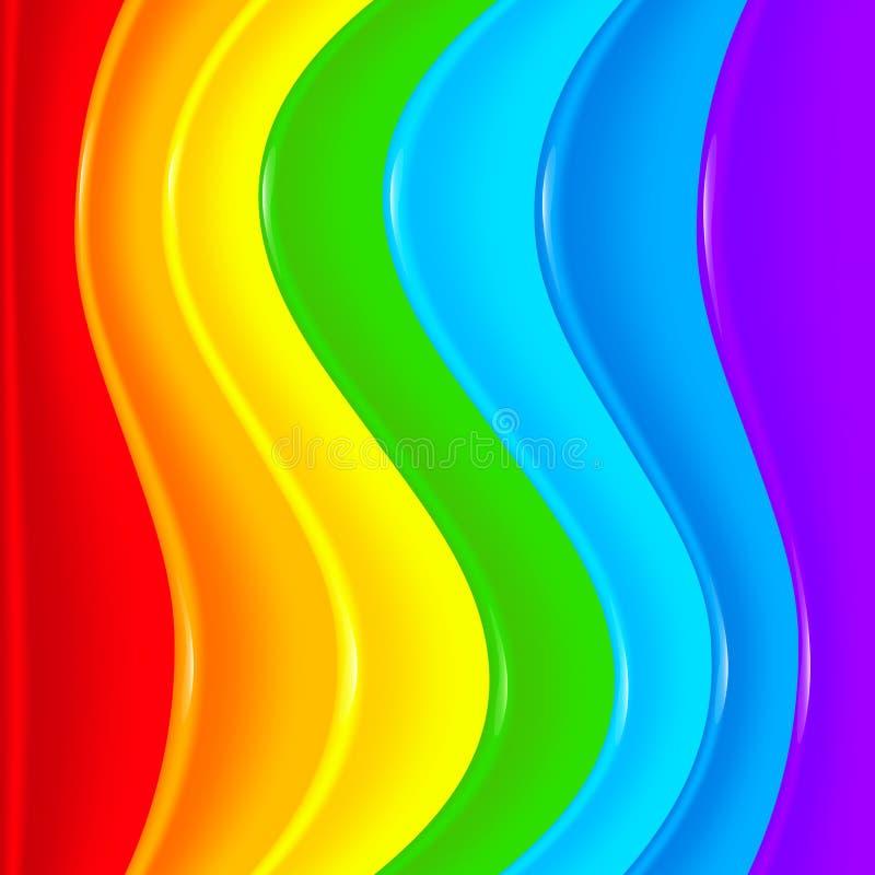 Heller Regenbogenvektorplastik bewegt Hintergrund wellenartig vektor abbildung