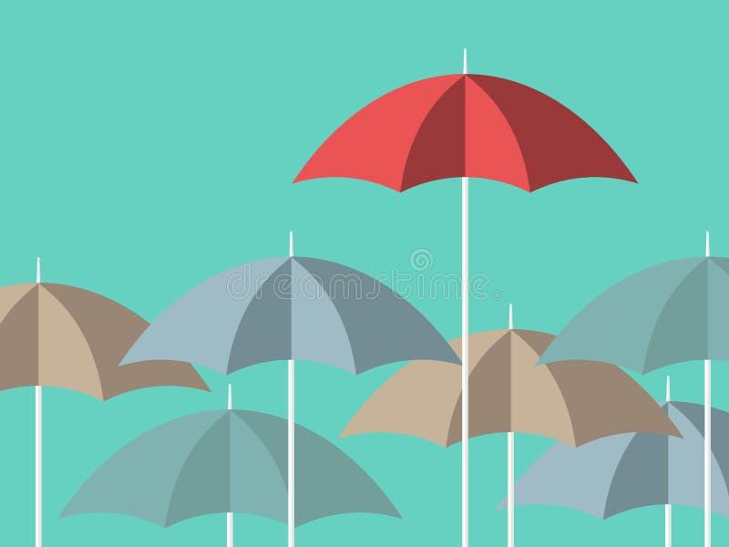 Heller roter einzigartiger Regenschirm vektor abbildung