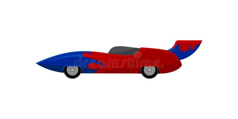 Heller roter Rennwagen mit blauem Verpackungsabziehbild und -Spoiler Colonia del Sacramento Extremer Selbstsport Flache Vektoriko vektor abbildung