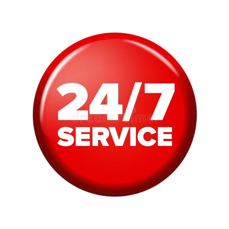 Heller roter runder Knopf mit Wörter ` 24/7 Service ` lizenzfreie abbildung