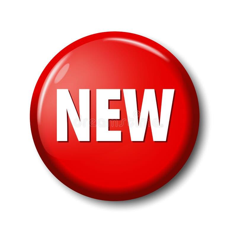 Heller roter runder Knopf mit Wort ` neuem ` lizenzfreie abbildung