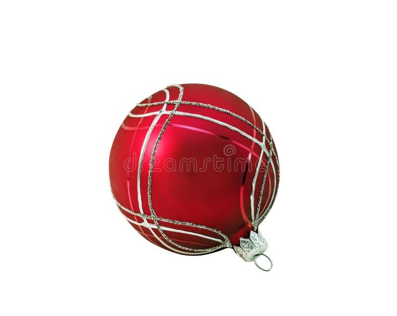Heller roter Weihnachtsball, Flitter mit Verzierung lizenzfreies stockbild