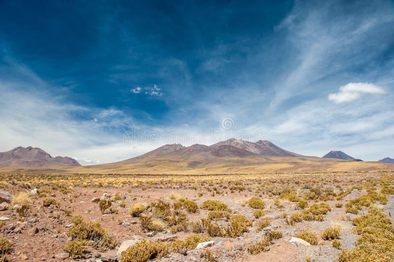Heller Sonnentag auf den Vulkanen der Atacama-Wüste Gebirge südlich von San Pedro de Atacama Schöne Landschaft in hellem Sonnenli stockfotografie