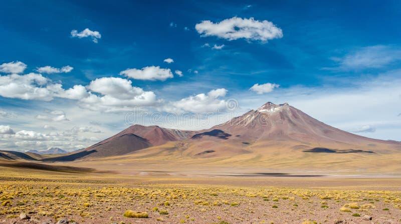 Heller Sonnentag auf den Vulkanen der Atacama-Wüste Gebirge südlich von San Pedro de Atacama Schöne Landschaft in hellem Sonnenli stockfoto
