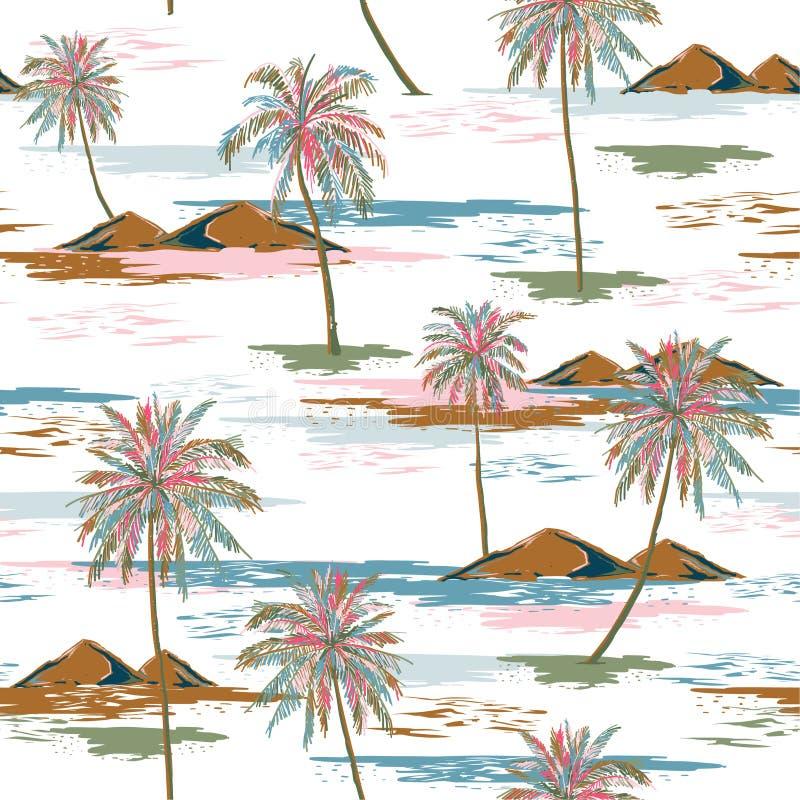 Heller und modischer Aloha monotoner blauer nahtloser Inselmustervektor Landschaft mit Palmen, Strand und der Ozeanvektorhand gez lizenzfreie abbildung