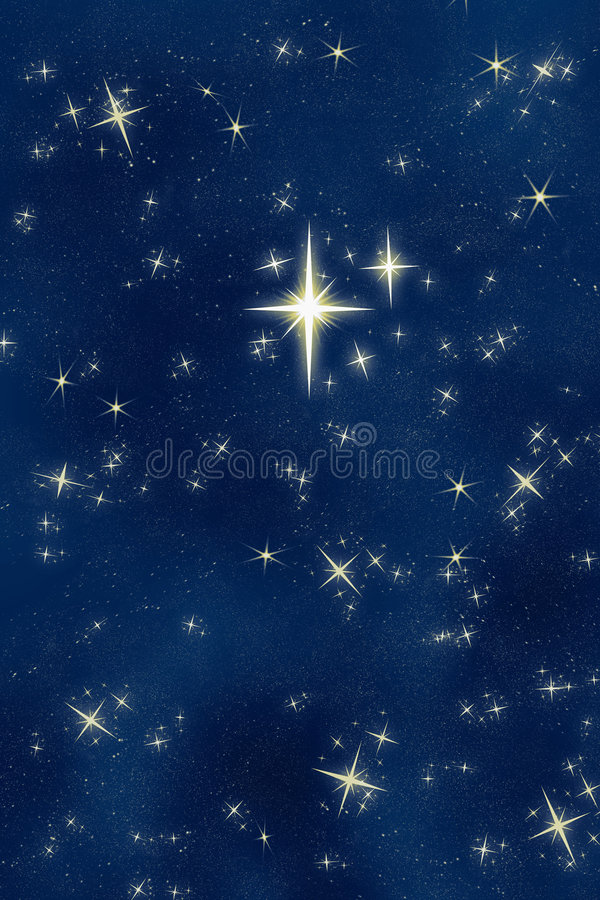 Heller wünschenstern-nächtlicher Himmel   vektor abbildung