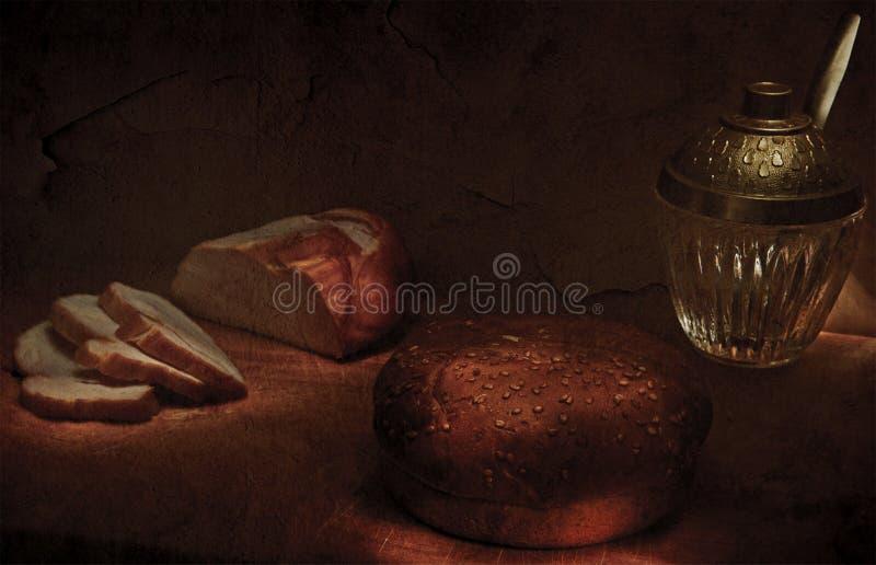 helles Abendessen mit einem Laib lizenzfreies stockfoto