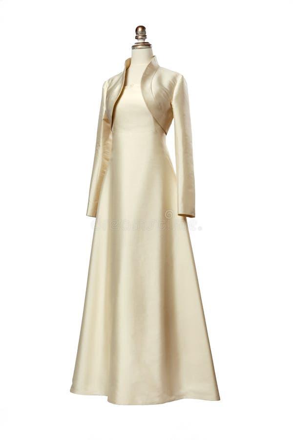 Helles Abendkleid mit Bolero auf einem Mannequin stockfoto