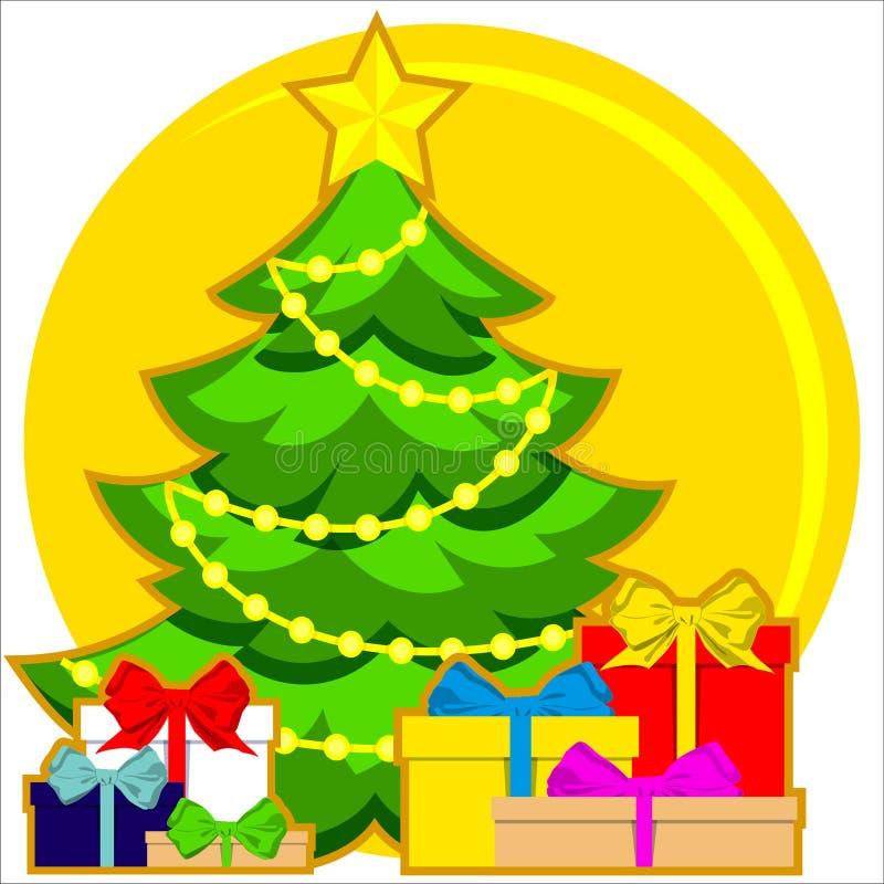 Helles buntes Plakat des Weihnachtsmotivs mit Weihnachtsbaum, Stern, Girlandenlicht und Stapel von Geschenken stock abbildung