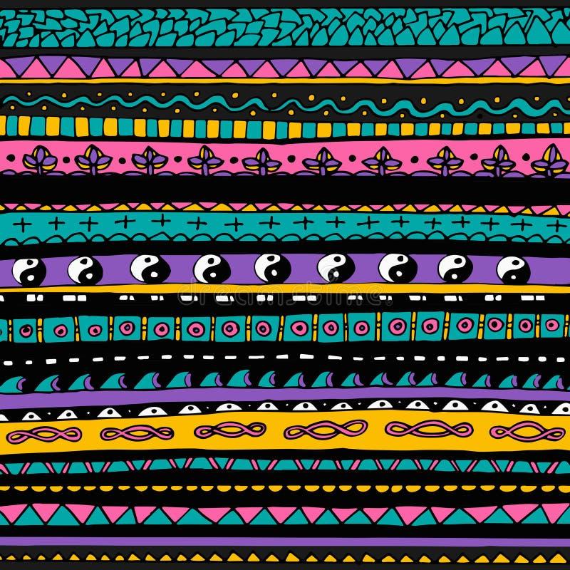 Helles buntes Stammes- nahtloses Muster stock abbildung