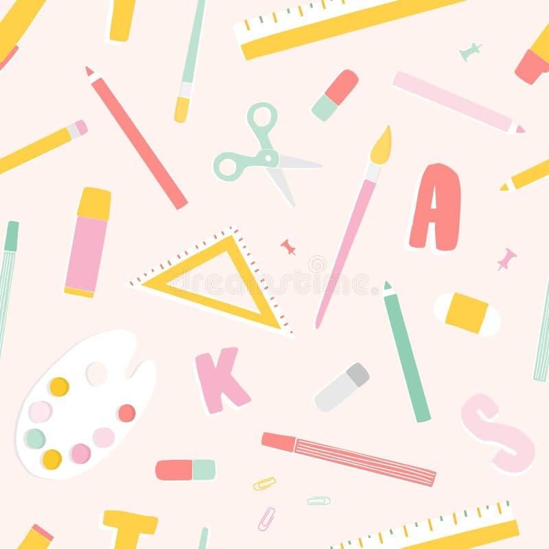 Helles farbiges nahtloses Muster mit Schulbedarf oder Briefpapier, Buchstaben zerstreuten auf hellen Hintergrund Moderner Vektor lizenzfreie abbildung