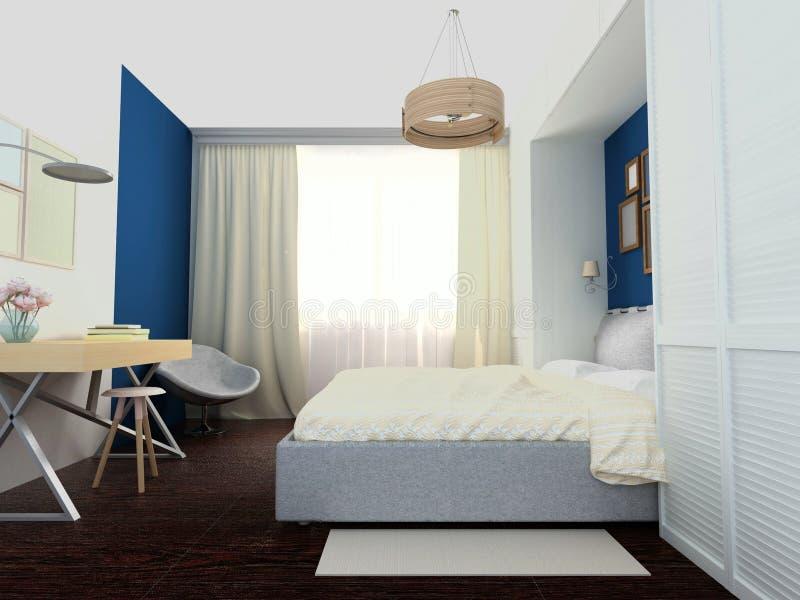 Helles gemütliches Schlafzimmer lizenzfreie abbildung