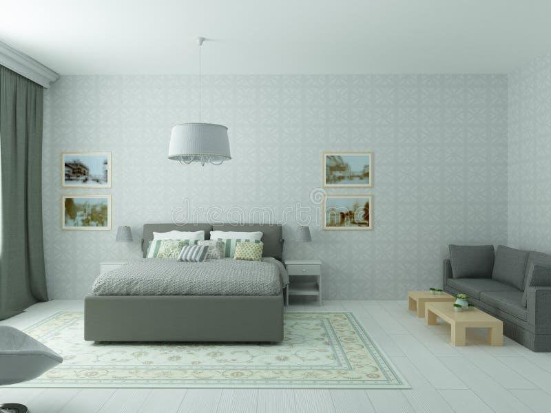 Download Helles Gemütliches Schlafzimmer In Der Klassischen Modernen Art  Und In Den Olivgrünen Farben Stock Abbildung