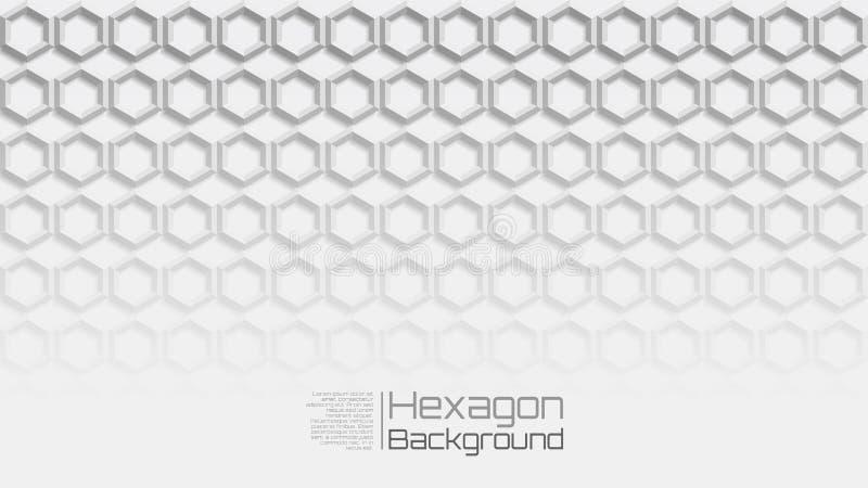 16:9 helles Grey Geometric Horizontal Hexagon Background lizenzfreie abbildung