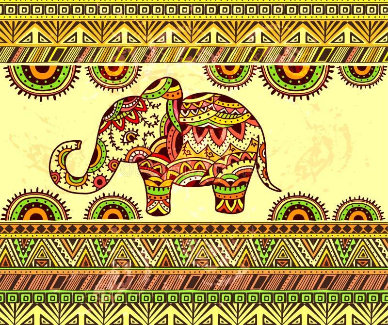 Helles horizontales ethnisches Muster mit Elefanten lizenzfreie abbildung