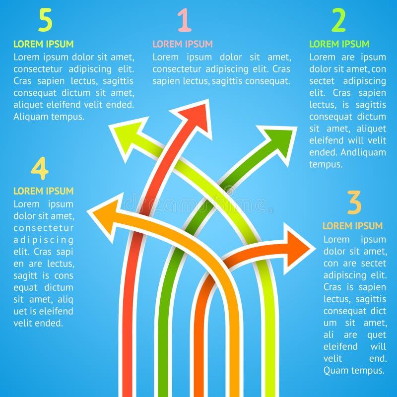 Helles infographics der unterschiedlichen Art fünf. Vektor stock abbildung