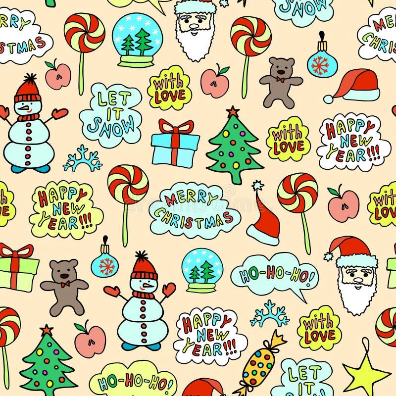 Helles Karikatur-Weihnachtsmuster - nahtlose Beschaffenheit auf dem rosa Hintergrund stockfotografie