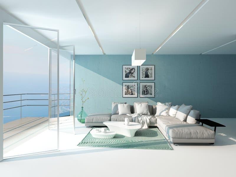 Helles luftiges Wohnzimmer, welches das Meer übersieht vektor abbildung