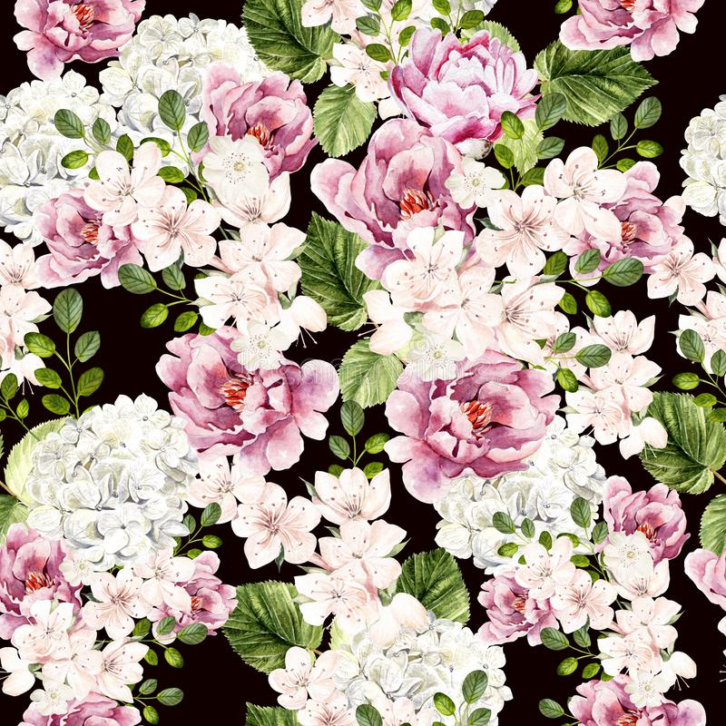 Helles Muster des schönen Aquarells mit Pfingstrosen-, hudrangea- und Frühlingsblumen lizenzfreie stockbilder