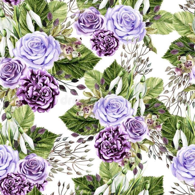 Helles Muster des schönen Aquarells mit Rosen und Pfingstrosenblumen stockfoto