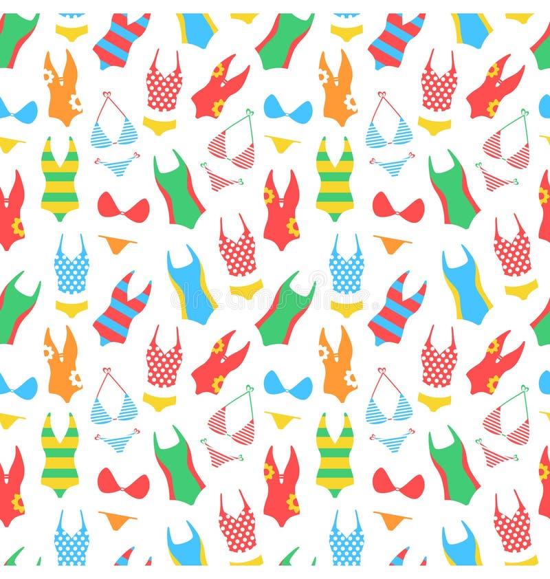 Helles Muster des Sommers mit Frauenbadeanzügen auf Weiß stock abbildung