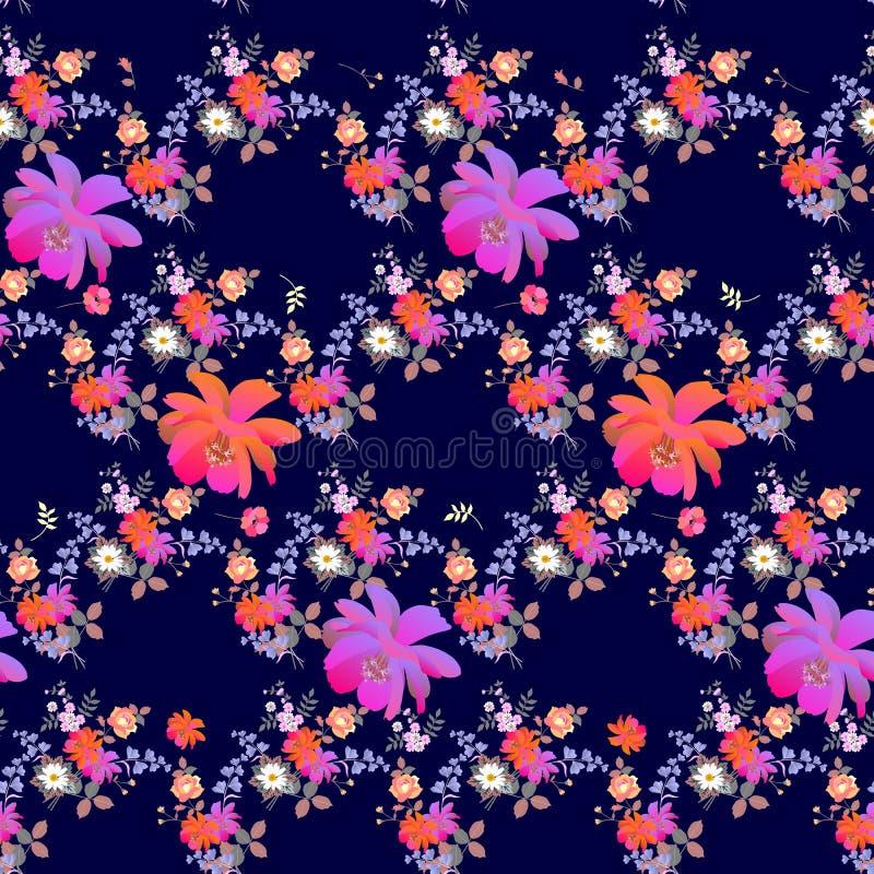 Helles nahtloses Blumenmuster mit Mohnblumen, Rosen, Gänseblümchen, Glocke und Kosmosblumen in der Aquarellart auf dunkelblauem H lizenzfreie abbildung