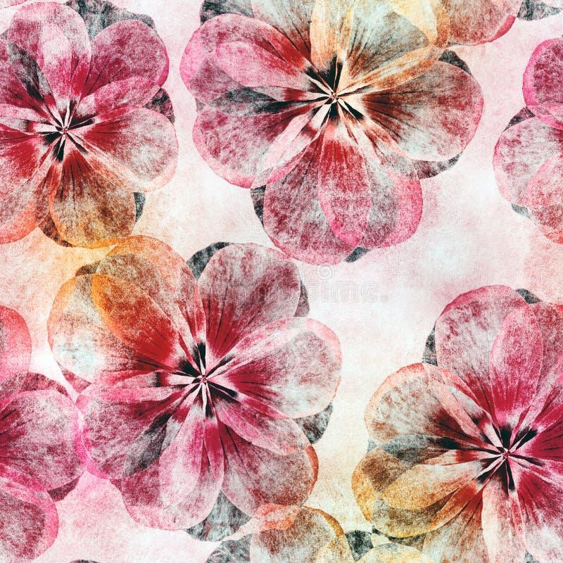 Helles nahtloses buntes Muster für Einklebebuch Collage mit trockenen Blättern Hintergrund für Kissen, Decke, Kissen, Plaid, tabl lizenzfreie abbildung