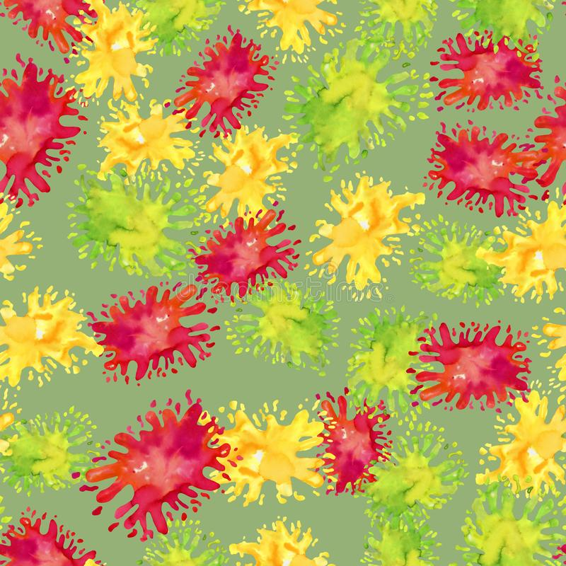 Helles nahtloses Muster des Aquarells von Farbenflecken auf Grün vektor abbildung