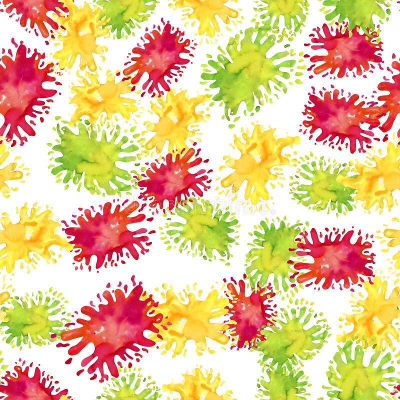 Helles nahtloses Muster des Aquarells von Farbenflecken auf Wei? stock abbildung
