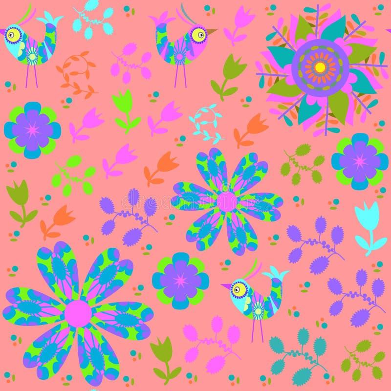 Helles nahtloses Muster des Vektors mit Karikaturvogel  vektor abbildung