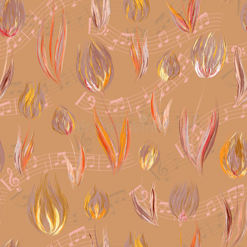 Helles nahtloses Muster mit Öl malte orange lila Tulpenblumen-Endenanmerkungen stock abbildung