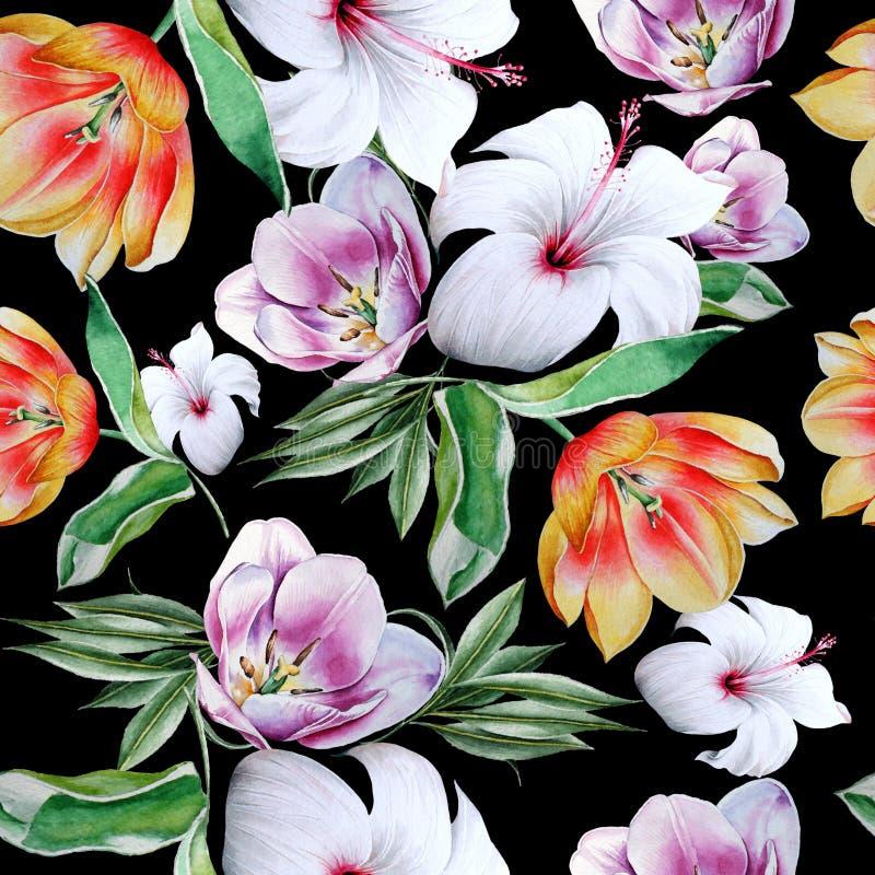 Helles nahtloses Muster mit Blumen Tulpe hibiscus Dekoratives Bild einer Flugwesenschwalbe ein Blatt Papier in seinem Schnabel vektor abbildung