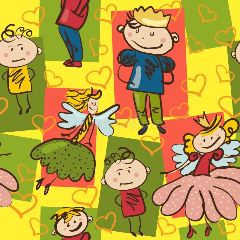 Helles nahtloses Muster mit kleinem Prinzen, nette Fee und lustig stock abbildung