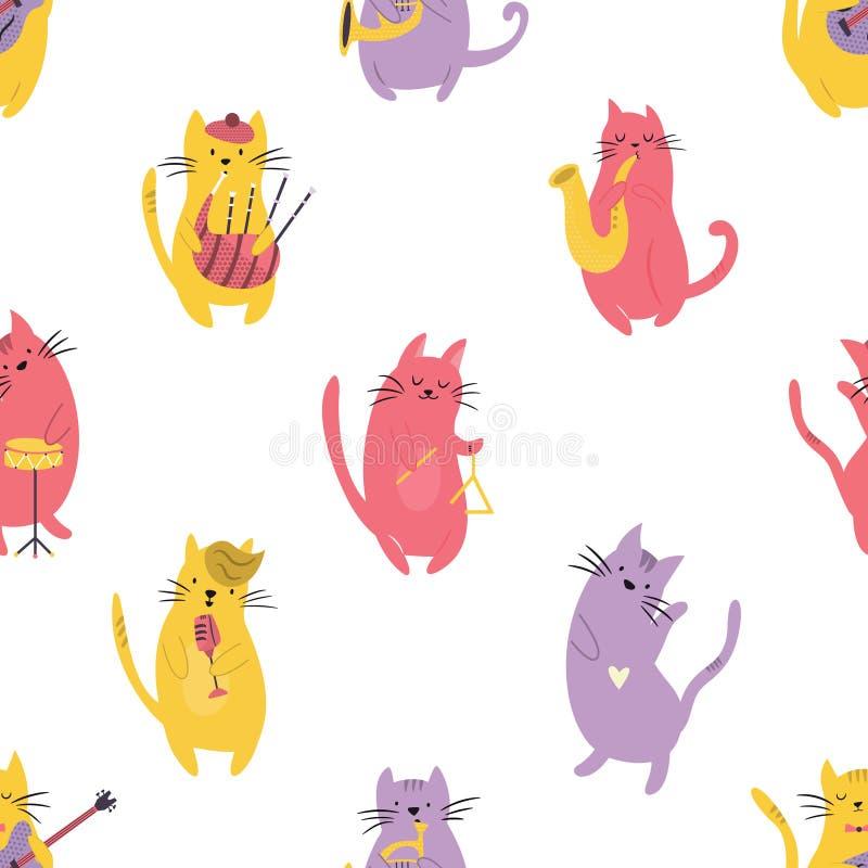 Helles nahtloses Muster mit lustigen Katzenmusikern vektor abbildung