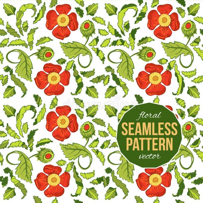 Helles nahtloses Muster mit Mohnblumen stock abbildung