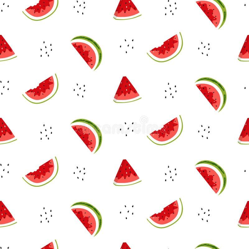 Helles nahtloses Muster mit Wassermelonenscheiben und -samen stock abbildung