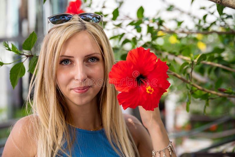 Helles Portrait einer attraktiven Blondine, die konservativ mit einem roten Hybiscus lächelt stockfotografie