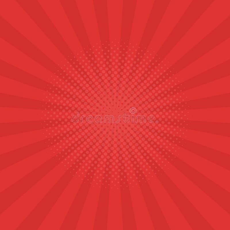 Helles Rot strahlt Hintergrund aus Comics, Pop-Arten-Art lizenzfreie abbildung