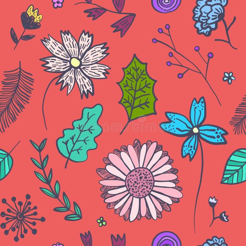 Helles rotes Blumenmuster mit bunten Blumen lizenzfreie abbildung
