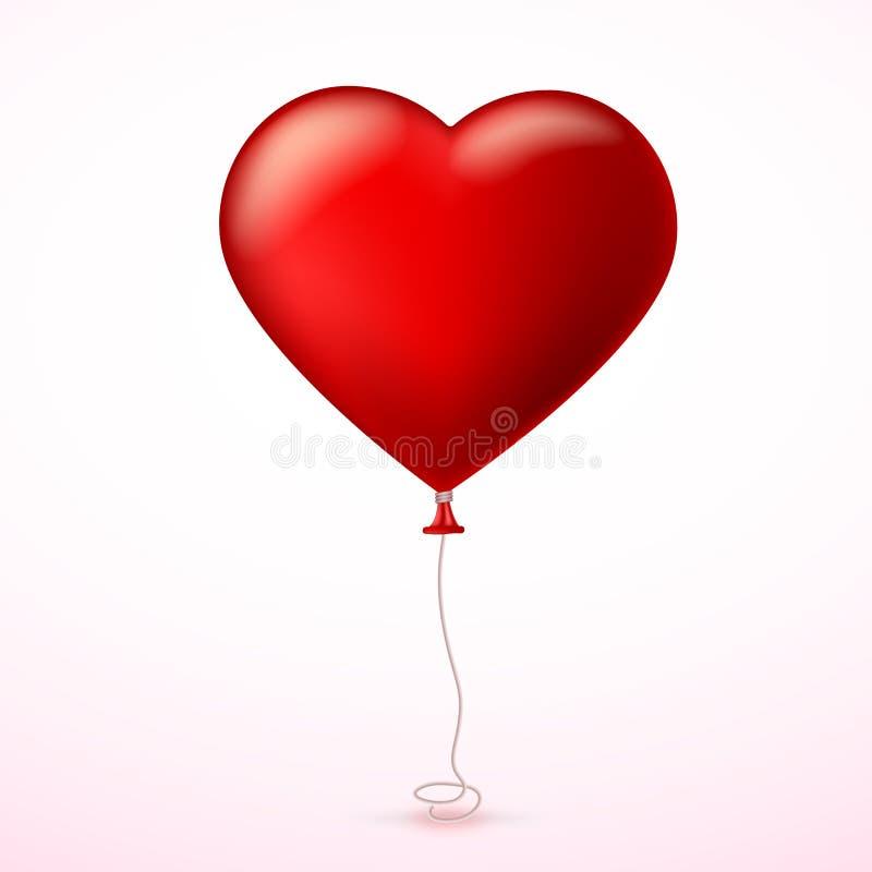 Helles rotes Herz, der aufblasbare Ballon in Form eines großen Herzens mit Band, Band stock abbildung