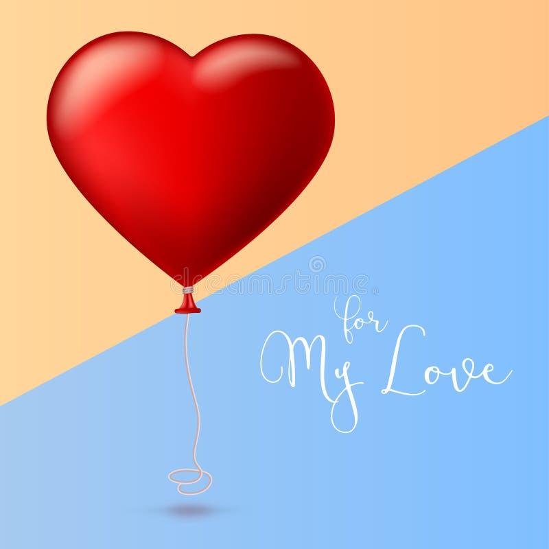 Helles rotes Herz, der aufblasbare Ballon in Form eines großen Herzens mit Band, Band lizenzfreie abbildung