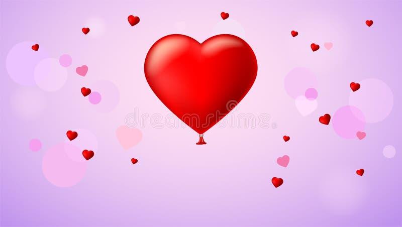 Helles rotes Herz, der aufblasbare Ballon in Form eines realistischen, großen Herzens mit Band, Band stock abbildung