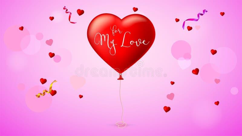 Helles rotes Herz, der aufblasbare Ballon in Form eines realistischen, großen Herzens mit Band, Band lizenzfreie abbildung